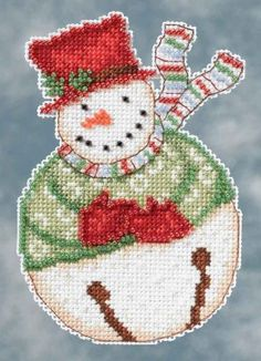 Mill Hill Snowbells Jangle Snowman Debbie Mumm Christmas Ornament Beaded Counted Cross Stitch Kit - New 2014 design Cross Stitch Heart, Beaded Cross Stitch, Counted Cross Stitch Kits, Cross Stitch Embroidery, Cross Stitch Patterns, Christmas Cross, Christmas Snowman, Christmas Ornaments, Xmas