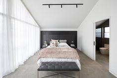 Ronnie & Georgia delivered their Master Suite in week 6 of The Block Master Suite, Modern Master Bedroom, Modern Bedroom Design, Minimalist Bedroom, Contemporary Bedroom, Master Bedrooms, Bedroom Designs, Modern Contemporary, The Block