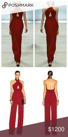 """Cushnie et Ochs Red Jacqueline Jumpsuit NWTs. Viscose/elastane stretch fabric. Silk lining. Zip closure. Very true to size. Will only fit a true XS. Armpit to armpit is 15.25"""", waist 14"""", hips at widest 17.25"""". Inseam 34"""", leg opening 11.5"""". All measurements were taken with the garment laid flat. Peplum style hips. Fabric has some stretch but still best for a XS. Cushnie et Ochs Pants Jumpsuits & Rompers"""