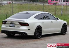 This an Audi with an Avery Satin Pearl White. The original color was a gloss black. Aside from the full wrap we put black gloss accents on different parts of the car. Audi A7 White, Custom Wraps, Home Room Design, Car Wrap, Dream Life, Pearl White, Satin, Pearls, Vehicles