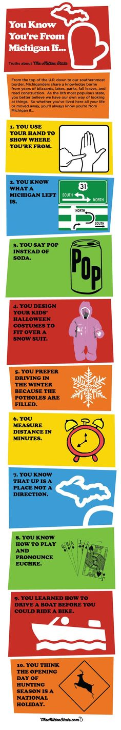 You know you're from Michigan if... Mostly true for me, except for a few things..