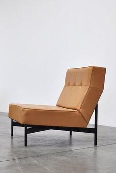 Wim den Boon; Enameled Metal and Vinyl Easy Chair, 1965.