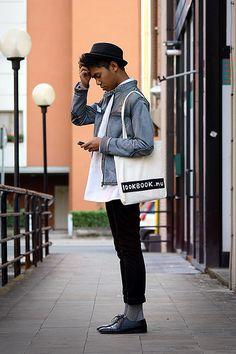 H&M Striped, H&M Trilby, V Intage Oversized Shirt, Zara Pochette, Zara Biker Jacket, Diy Lookbook.Nu Tote Bag, Sisley Pants