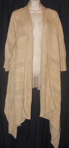 Lauren Ralph Lauren Gold Metallic Asymmetrical Open Front Cardigan Sweater OS #LaurenRalphLauren #Cardigan