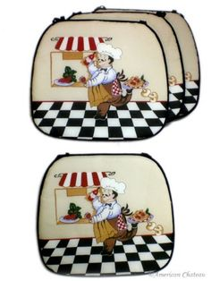 Set Lot 4 Cover Fat French Chef Kitchen Cushion Chair Covers Bistro Home Decor * You can find more details by visiting the image link.-It is an affiliate link to Amazon. #DecorativePillowsInsertsCovers