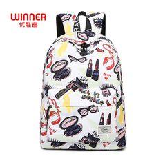 Find More Backpacks Information about WINNER Korean Printing Backpack Women  School Bags Backpacks for Teenage Girls 8e8ac87a8e8