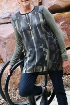Sage multicolored tunic would be great under a vest/jacket or all by itself!   Tunic does run small. Sage Tunic by Bandolera. Clothing - Tops - Tunics South Dakota