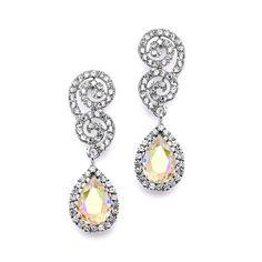 Best Selling Crystal Scroll Wedding or Prom Earrings with AB Teardrop