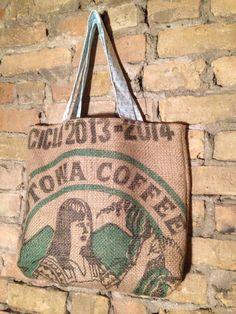 Burlap Coffee Sack Tote Bag by RubbishRenewedMN on Etsy