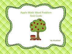 Fun Math Activities, Math Games For Kids, Math Task Cards, Math Words, Math Word Problems, Picture Cards, Math Teacher, Child Love, Autumn Theme