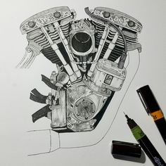 Gd night.  In progress, Life. ☝✒✏ #harleydavidson #shovelhead #shovelheat #bigtwin #bobber #chopper #engine #magneto #vintage #custom #motorcycle #bike #drawing #architecturaldrawing #painting #art #illustration #sketch #craft #rotling #life #cycle #kustom #culture #bkk #customlinecycle