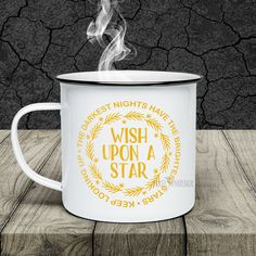 Wish upon a star svg, instant download, coffee mug decals, coffee mug svg, heat transfer file, inspirational quote, wreath svg design by pixelphoenixdesigns on Etsy
