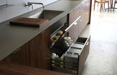 Henrybuilt makes a clever utility drawer for under-sink cleaning supplies.