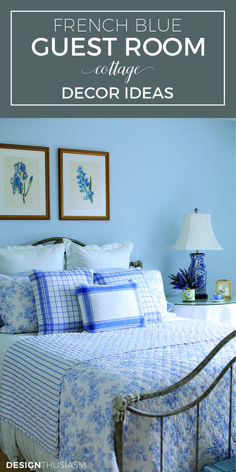 White and blue cottage bedroom boasts walls painted for Blue guest bedroom ideas