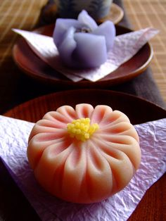September Wagashi | Wagashi shop Turuya-Yoshinobu in Hanshin department store, Osaka, Japan ---  Traditional Japanese cakes (wagashi) in the shape of chrysanthemum and water hyacinth.These are limited editions of September. Many of products of wagashi shops are changed every 1 month or every a season. | by bananagranola, Flickr