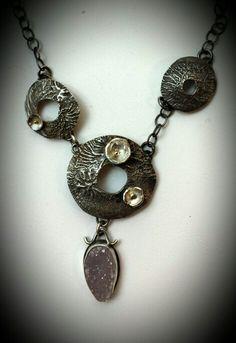 reticulated silver, 18K gold,  druzy, necklace. MJ Sandman Jewelry.