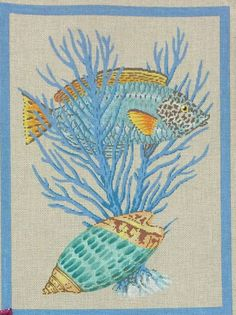The Meredith Collection needlepoint fish, coral, and shells