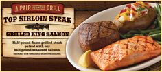 Black Angus Restaurant. Top Sirloin Steak and Grilled King Salmon