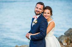 Bride and groom seaside portrait
