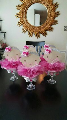 Check out this item in my Etsy shop https://www.etsy.com/listing/259995238/5-ballerina-centerpieces-baby-shower