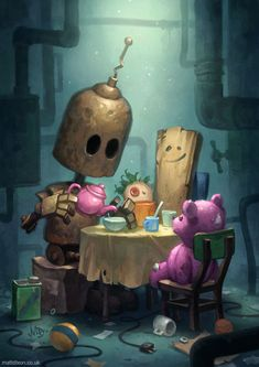 Lonely Robots Experiencing The Quiet Wonder Of The World (New Illustrations) Arte Robot, Robot Art, Character Art, Character Design, Character Concept, Bd Art, Ecole Art, Deviant Art, Whimsical Art