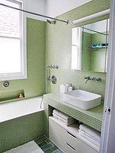 Green Tile Bathroom home-design Bathroom Renos, Small Bathroom, Master Bathroom, Tile Bathrooms, Bathroom Vanities, Bathroom Storage, Bathroom Ideas, Bathroom Interior Design, Home Interior