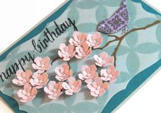 Happy Birthday  Handmade Card  Pink flowers  Bird by CardamomsArt