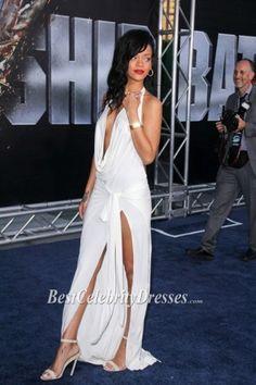 afeaa30cea Rihanna White Halter Tear Evening Dress  battleship  Premiere Blue Carpet