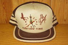 HUNTING TIME Clock Hat Original Vintage 80s Brown Striped Snapback Trucker Hat at HatsForward