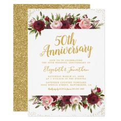 Shop Wedding Anniversary Burgundy Blush Gold Invitation created by special_stationery. Personalize it with photos & text or purchase as is! 50th Wedding Anniversary Invitations, Burgundy Wedding Invitations, Wedding Party Invites, Affordable Wedding Invitations, Gold Invitations, Wedding Rsvp, Elegant Wedding Invitations, Wedding Invitation Cards, Custom Invitations