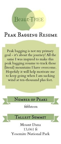 Beaut-tree.net Peak Bagging Resume: Create a list of peaks you have hiked for future motivation!