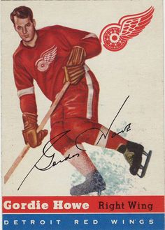 Collect the best Gordie Howe hockey cards of all-time, with a focus on vintage cards. Hockey Games, Hockey Players, Ice Hockey, Nhl All Star Game, Red Wings Hockey, Sports Figures, National Hockey League, Detroit Red Wings, Baseball Cards