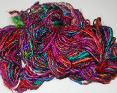 Recycled ART Sari Silk Yarn Multicolored Himalayan Bordeaux multi