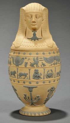 Caneware Canopic jar and cover, early 19th century.