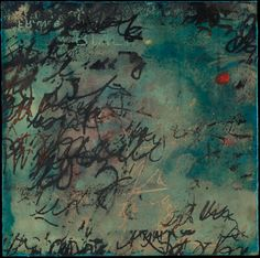 """Gay Schy   Witness to the Words   encaustic mixed media on panel, 8""""x8"""" /sm"""