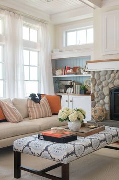 It would probably be easy to convert a coffee table to this idea. Little foam, fabric and fake nail trim to finish it off...Family Room Decorating Ideas. Family Room Furniture. Family room Design. Kate Jackson Design.