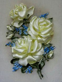 Have Fun with Silk-Ribbon Embroidery - Embroidery Patterns Ribbon Embroidery Tutorial, Hand Embroidery Dress, Silk Ribbon Embroidery, Crewel Embroidery, Embroidery Kits, Ribbon Art, Ribbon Crafts, Flower Tutorial, Flower Making