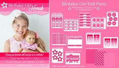 Printable American Girl Doll Inspired Birthday Invitation and collection