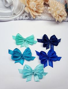 5 Blue Assorted Bows, Decorative Bows, Satin Ribbon Bows, Small Applique Bows, Gift Tag Bows, Blue Bow Embellishments, Gift Wrapping Bows