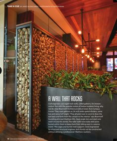 Mission Cobble is a perfect choice for this beautiful indoor Gabion Wall.