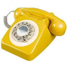 Vintage retro 60s 70s GPO dialling cord telephone bold yellow chic landline gift