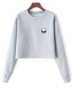 Alien Embroidery SRound Neck Long Sleeve weatshirt