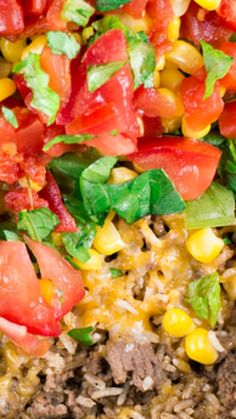 One Pan Taco Casserole ~ includes ground beef, lettuces, cheese, tomatoes and corn and is made with Instant rice making it super quick!