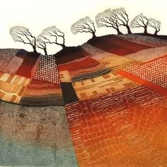 Windswept Trees etching mounted art by Rebecca Vincent. Patchwork of colours and patterns Landscape Art Quilts, Abstract Landscape, Landscape Paintings, Linolium, Art Courses, Gravure, Tree Art, Kitsch, Art Images