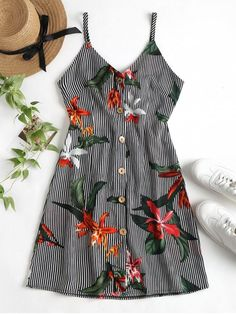 Stripe Floral Button Front Cami Mini Dress. Tap into the clashing print trend with our stripe and floral print dress. This mini dress boasts a flowy fabric, adjustable shoulder straps, a button down the front closure, a back tie, a rear elastic trim, and a leggy length. #Zaful #Dress #Outfits