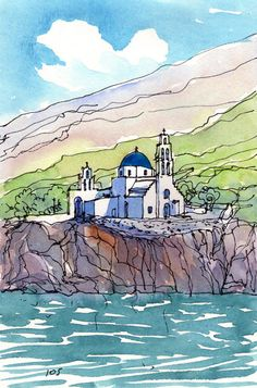 Ios, Greece, art print from original watercolor painting