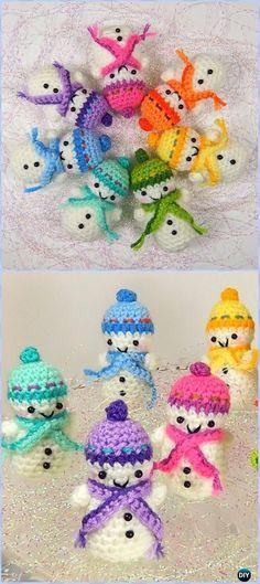 Crochet Teeny Tiny Snowmen Free Pattern - Amigurumi Crochet Snowman Stuffies Toys Free Patterns