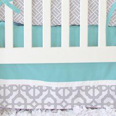 Aqua and Gray Mod Lattice Bumperless Crib by CadenLaneBabyBedding
