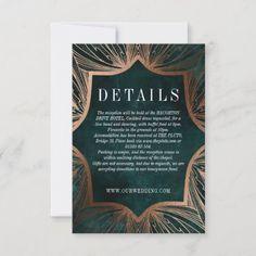 Art Nouveau faux bronze DETAILS insert card Bronze Wedding Invitations, Beautiful Wedding Invitations, Honeymoon Fund, Honeymoon Gifts, Wedding Card Design, Wedding Cards, Christmas Photo Cards, Christmas Photos, Holiday Cards
