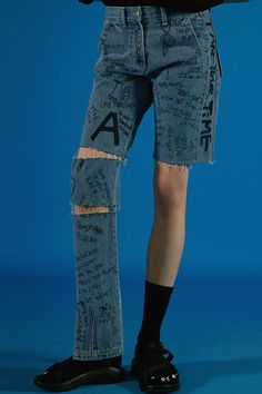 ADERerror Contemporary Minimalism Color Edit Denim Text